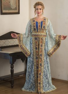 Arabic Style Moroccan Dress Moroccan Style, Brasso Fabric, Turquoise Color, handmade, Multi Embroidered – Arabic attire  #wedding #weddingabaya #weddingdress #moroccancaftanwedding #takchitakaftans