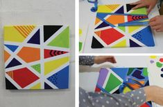 Fun Canvas Art for Kids. Or take away the canvas but use the tape to create shapes for a fun art/math activity. Source by efrobinson Simple Canvas Paintings, Easy Canvas Painting, Diy Canvas Art, Painting For Kids, Diy Painting, Painting Flowers, Painting Abstract, Canvas Prints, Simple Wall Art