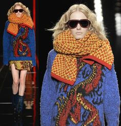 Bright and Chunky: Cavalli Fall/Winter 2013 Scarves