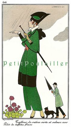 PetitPoulailler 1914 Vintage Fashion Lithograph From Journal des Dames et des Modes, George Barbier, Pl 156