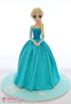 Princess Elsa Cake Frozen Doll Cake, Elsa Doll Cake, Disney Frozen Cake, Frozen Theme Cake, Disney Cakes, 4th Birthday Cakes, Frozen Birthday Cake, Fondant Cakes, Cupcake Cakes