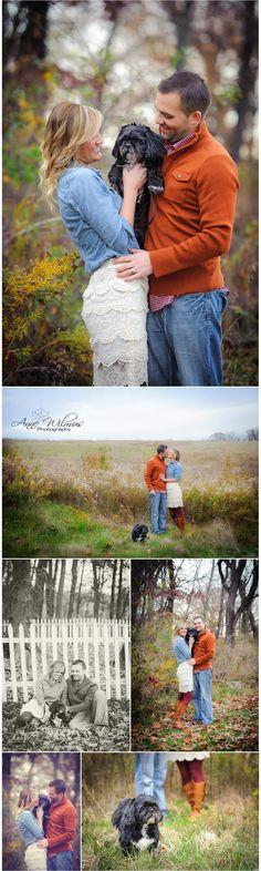 3 Christmas photos with dog couple and their dog Christmas lights photo idea best Bethel Park Pittsburgh photographer Val, Jason, and Artie ...