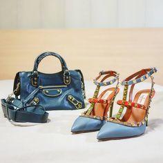 BALENCIAGA Metallic Edge Mini City bag | VALENTINO Rockstud heels | instagram: @quennandher | https://instagram.com/quennandher