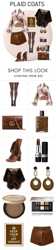 """""""Plaid coat"""" by anet-ko on Polyvore featuring Alexander McQueen, Gucci, NARS Cosmetics, Chloé, Christian Dior, Unreal Fur, Toolally, Too Faced Cosmetics, Givenchy and Paskal"""