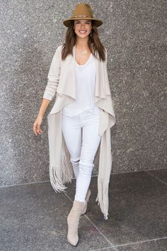 38 outfit ideas for jeans from the most stylish celebs: Alessandra Ambrosio proves white denim can be worn year-round in an all white ensemble