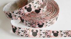 "Minnie Mouse Ribbon 5 yards of 1"" Pink and Black Grosgrain Minnie's Bowtique Birthday Party Favor Ties Hair Bows Disney Vacation DIY Lanyard by HouseofHairDecor on Etsy"