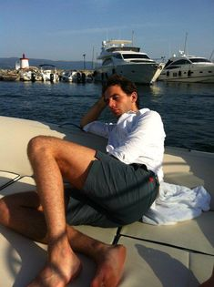 """Relax, take it easy! Mika on a boat 2011 - from the """"Mika Backstage"""" album on Mika's Facebook page"""