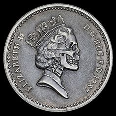 One Pound Elizabeth Skull (Seth Basista Engraving) Tags: world ohio metal silver skeleton skull carved seth high coin elizabeth hand coins quality best made engraving horror nickel hobo sb engraved detailed youngstown basista vision:outdoor=0622