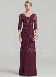 fc2aa2aab34711 A-Line Princess V-neck Floor-Length Chiffon Lace Mother of the Bride Dress  With Beading Cascading Ruffles (008114225). Moeder Van Bruidegom JurkenBruid  ...