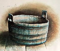 Hubert shuptrine Indigo Tub, southern art Print, Charleston NC, Farmhouse decor, Rustic Blue Wooden Tub, American Artist, ready to frame art by MushkaVintage3 on Etsy