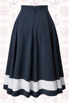 Petra Sailor Swing Skirt in Navy : Miss Candyfloss Sailor Navy Blue Swing Skirt 122 31 14878 20150410 Trendy Dresses, Blue Dresses, Vintage Dresses, Casual Dresses, Fashion Dresses, Summer Dresses, Summer Outfits, Chiffon Dresses, Ladies Dresses