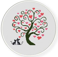 Cats and hearts tree Cross Stitch Tree, Cross Stitch Heart, Simple Cross Stitch, Modern Cross Stitch, Cross Stitch Flowers, Wedding Cross Stitch Patterns, Counted Cross Stitch Patterns, Cross Stitch Designs, Cross Stitch Embroidery
