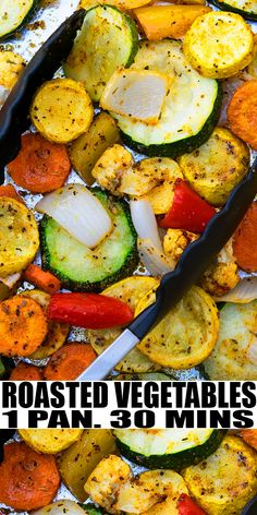 OVEN ROASTED VEGETABLES RECIPE- The best, healthy, quick and easy, Italian roasted veggies, homemade with simple ingredients in one pan or sheet pan in 30 minutes. Great as side dish or main dish. Top off with parmesan cheese or balsamic glaze. Grilled Vegetable Recipes, Grilled Veggies, Vegetarian Recipes, Cooking Recipes, Healthy Recipes, Cooking Ideas, Veggie Side Dishes, Vegetable Dishes, Side Dish Recipes
