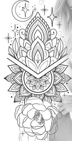 Floral Tattoo Design, Mandala Tattoo Design, Flower Tattoo Designs, Flower Tattoos, Mandala Thigh Tattoo, Floral Mandala Tattoo, Line Art Tattoos, Cover Up Tattoos, Tattoo Drawings