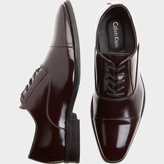 Calvin Klein Radley Burgundy Cap Toe Oxfords - Dress Shoes | Men's Wearhouse