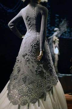 """This was captioned """"Amazing crochet dress"""" but it looks like a mix of knitting and crochet to me. Please comment if you know more about this dress."""