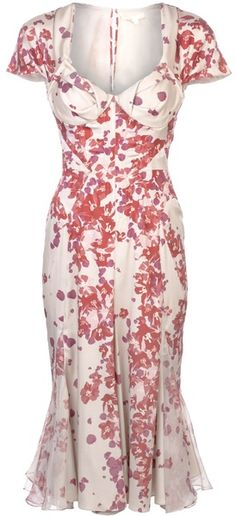 Printed Sweetheart Dress - Lyst