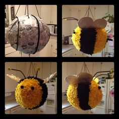 Bernie the Bee Piñata I love bees and this is adorable. I got to make one. :-) #savethebees #bumblebeebabyshowerideasdecoration Baby Party, Baby Shower Parties, Baby Shower Themes, Baby Shower Decorations, Bee Decorations, Shower Ideas, Bumble Bee Birthday, I Love Bees, Baby Shower Gender Reveal