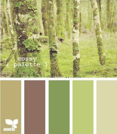 mossy palette - Similar color scheme of  the walls in our living room/dinning room.  I need to play this up more with decor. | Color  | Colors, Livi…