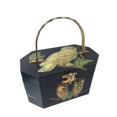 1960s Black Lacquered Wood Octagonal Box Bag w/ 3-D Owl Decoupage   From a collection of rare vintage novelty bags at https://www.1stdibs.com/fashion/handbags-purses-bags/novelty-bags/