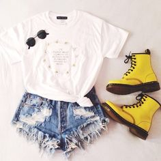 White Tee and Denim Shorts with Yellow Doc Martens