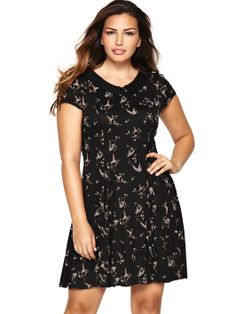So Fabulous Bird Print Peter Pan Collar Jersey Dress (Available in sizes 14-28) | very.co.uk