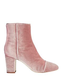 Polly Plume Jackie Velvet Bootie: Pink: Velvet is a must have statement come Fall and we are all about 3 1/4 stacked heel booties. Leather soles. In baby pink. Made in ...