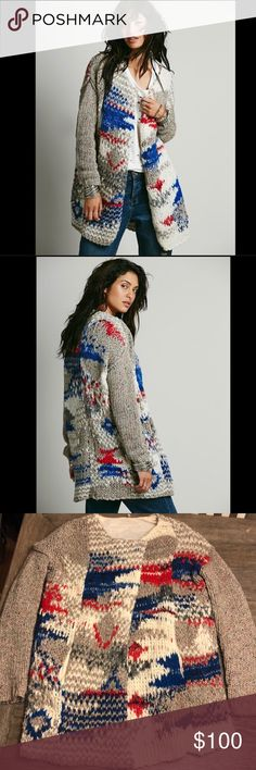 """Free People Oversize Multicolored Cardigan. M. Pit to pit - 23"""" Shoulder to hem length - 30"""" Free People Sweaters Cardigans"""