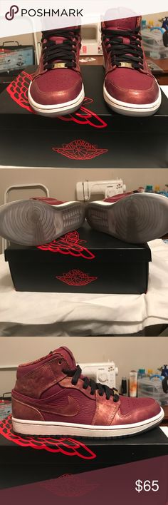 Air Jordan 1 MID BHM Worn 2x. Comes with box. Very little bending around toebox. Jordan Shoes Sneakers