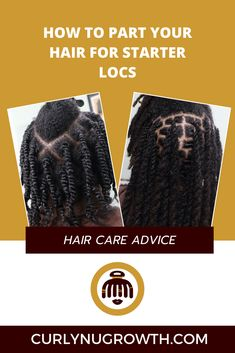 An overview of the 4 most commonly used parting systems for starter locs, including the square parts, diamond parts, c-shaped parts, and organic parts. Starter Locs, Hair Density, Used Parts, Hair Care Tips, Textured Hair, Organic, Diamond, Diamonds, Hair Care