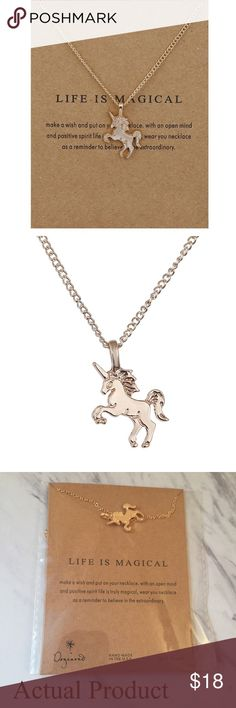 Life Is Magical Necklace with Card Life Is Magical unicorn necklace with card. Makes a beautiful gift! ✨14k gold dipped✨Please see actual product photo. Card is approx 4x3 inches.   Bundle discount available!  🍍Suggested User! 🍍5 Star Rated Seller! 🍍Same or next day shipper! 🐶Pet friendly 🚬Smoke-free 🚫No trades ❌No half price offers Pineapple.PalmBeach Jewelry Necklaces