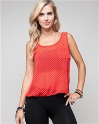 Red Swing Back Spotted Tank - Light blouse with sexy back detail. Love Fashion, Basic Tank Top, Tank Tops, Detail, Blouse, Sexy, How To Make, Women, Halter Tops