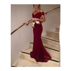 Amazing Off Shoulder Burgundy Mermaid Lace Prom Dresses , Mermaid… (clipped to polyvore.com)