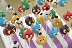 Angry Bird Cake Pops for Zion's birthday