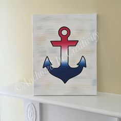 Anchor Canvas, Nautical Picture, Patriotic Anchor, Red White and Blue, Painted Canvas by AnchorInCreativity on Etsy