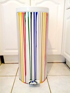 Perfect Striped Painted Colorful 30 Litre Kitchen Trash Can Rubbish Bin. $99.99,  Via Etsy.