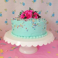Beautiful Vintage Inspired Birthday Cake made for a special Layer Cake Shop Birthday Girl!