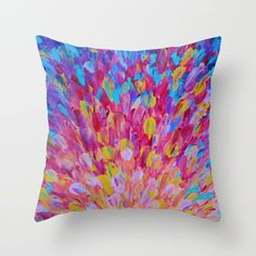 SPLASH, Revisited - Bold Beautiful Feminine Romance Ocean Beach Waves Magenta Plum Turquoise Crimson Throw Pillow