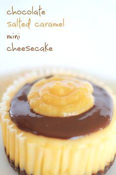 chocolate salted caramel mini cheesecake at http://goodnaturedfood.org/