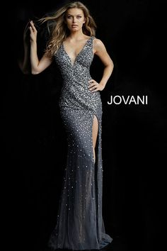 0cd6a78465fe Jovani 58505 embellished fitted prom dress with sleeveless fitted bodice,  mesh insert plunging neckline and