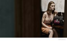 miu-miu-spring-2015-ad-campaign-photos, The spring-summer 2015 advertisements from Miu Miu once again enlists a cast of actresses with Mia Goth, Imogen Poots and Marine Vacth appearing in these images captured by Steven Meisel.
