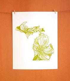 Letterpress Michigan Apple Blossom by thimblepress on Etsy, $25.00