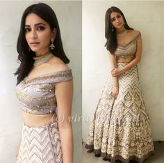 Kriti Kharbanda looks every bit regal in a 'Ekaam' creation at their store launch event in Indore! Indian Bridal Wear, Indian Wedding Outfits, Bridal Outfits, Indian Outfits, Indian Wear, Indian Engagement Outfit, Lehenga Designs, Saree Blouse Designs, Blouse Styles