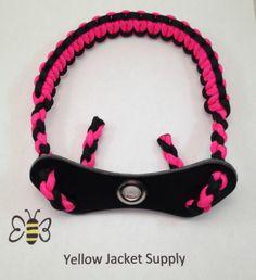 Pink / Black Paracord Bow Wrist Sling Leather Yoke