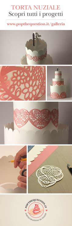 San Valentino 2014. Torta Nuziale in carta (Bianco Neve e Rosa Confetto) realizzata come allestimento per lo stand di PopTheQuestion ad un evento dedicato agli sposi.