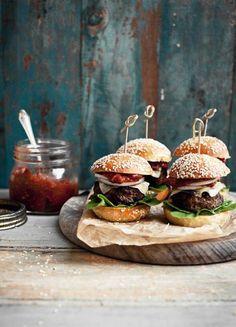 The rustic burger. homemade bread and fresh, farm produce.