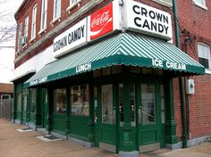 Crown Candy Kitchen in St. Louis.   This place has been around forever.  They make their own candy and serve ice cream the old fashioned way!