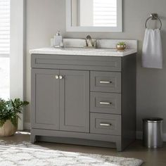 Home Decorators Collection Thornbriar 36 in. W x 21 in. D Bathroom Vanity Cabinet in Cement - - The Home Depot Home Depot Bathroom Vanity, 36 Inch Bathroom Vanity, 36 Inch Vanity, Bathroom Vanities Without Tops, Bathroom Vanity Cabinets, Bathroom Furniture, Modern Bathroom, Small Bathroom, Bathroom Ideas