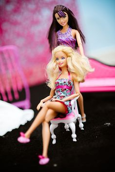 Barbie getting her hair done before the ceremony