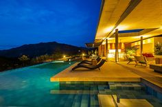 Cozy Infinity Swimming Pool Overlooks The Mountain With Lounge Deck And Contemporary Lounge Chairs Design Ideas: Stunning Modern Country Home in Colombia, Casa 7A